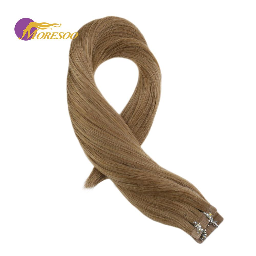 Moresoo Tape In Hair Extensions 100% Real Remy Brazilian Human Hair Gloden Brown Color #14 Skin Weft Hair Extensions 2.5g/pcs