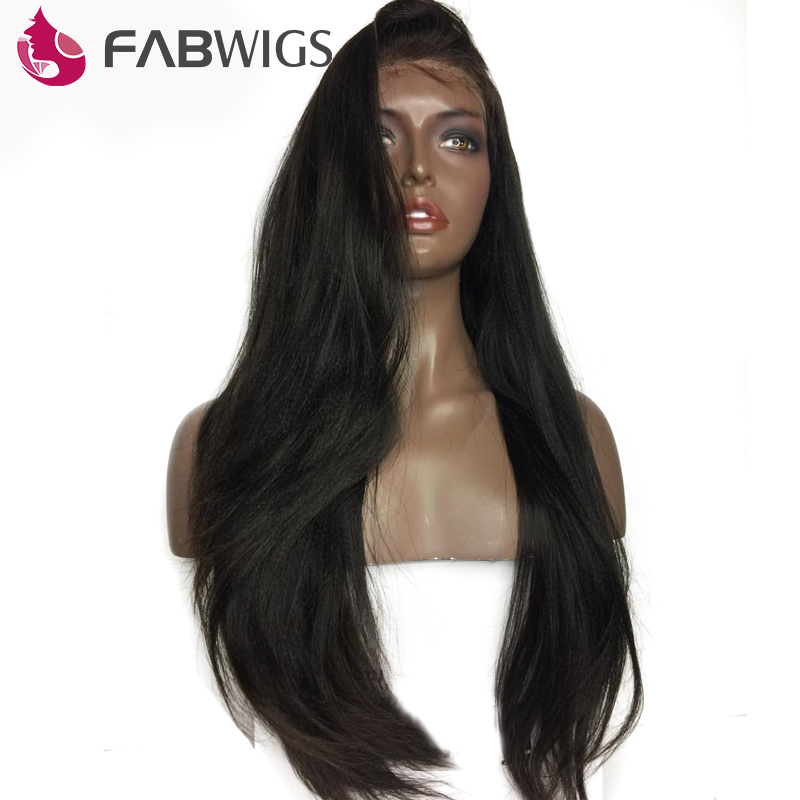 Fabwigs 180 Pre Plucked Full Lace Human Hair Wigs with Baby Hair Brazilian Remy Hair Silky