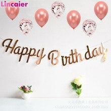 Cartel de decoración de Feliz cumpleaños de oro rosa, primer cumpleaños de niña y niño, fiesta para niños y adultos, banderines de tela, guirnalda de un año