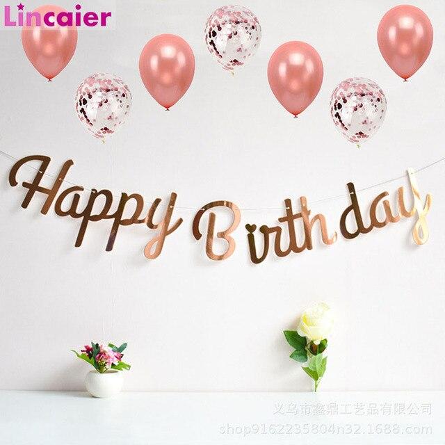 Różowe złoto dekoracja urodzinowa Banner pierwsze pierwsze urodziny chłopiec dziewczyna Party dzieci dorosły trznadel tkaniny flagi Garland jeden rok