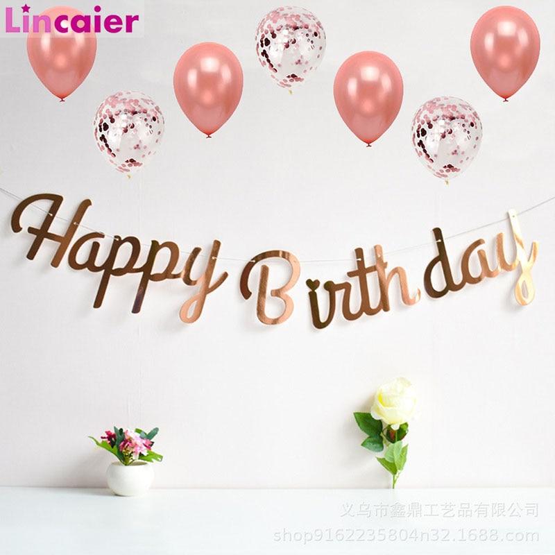 Баннеры из латекса, розовые, золотые, с днем рождения, для детей, первый день рождения, для мальчиков и девочек, для взрослых, 1, 2, 3, 18, 21, 30, 40, 50
