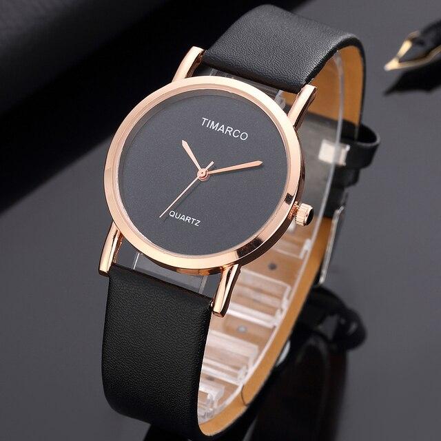 2018 New Quartz Minimalist Black Watches Women Fashion Leather Watch Ladies Casu