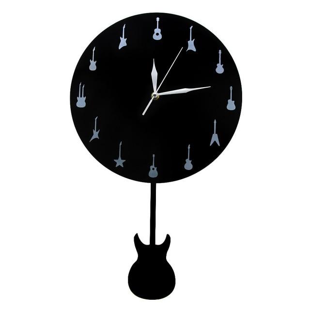 1piece Guitar Wall Clock With Swinging Music Studio Pendulum Clocks Watches Modern Design Unique