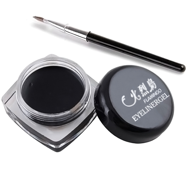 Black Beauty Eyeliner Gel With Brush Cosmetic Waterproof Eyeliner Shadow Gel Eye Liner Makeup Eye Liner Pencil M01205