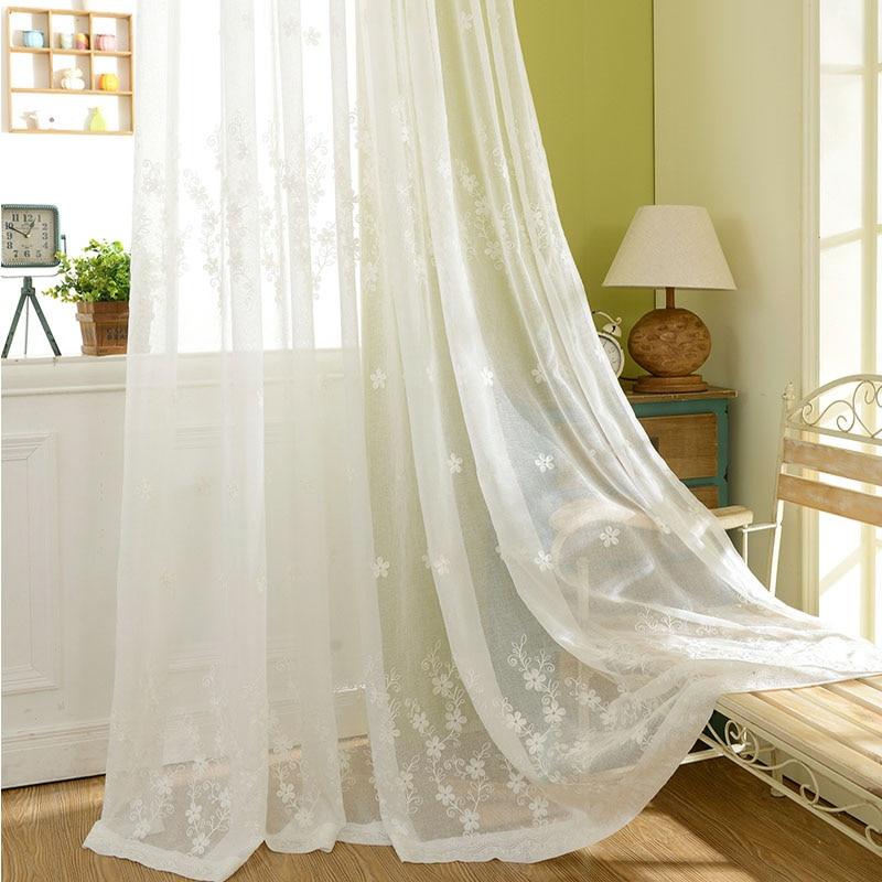 Suave respiración del bebé blanco bordado cortina de tul para ...
