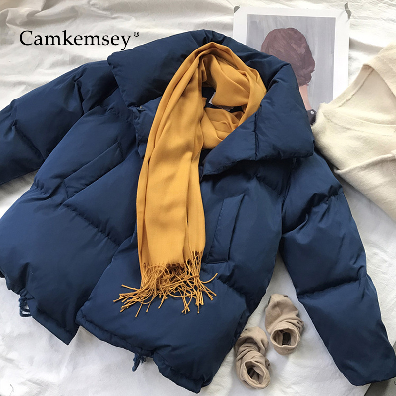 CamKemsey 2018 New Thicken Warm Winter Coat Women Casual Stand Collar Cotton Padded Loose Down Jackets Female Winter   Parkas