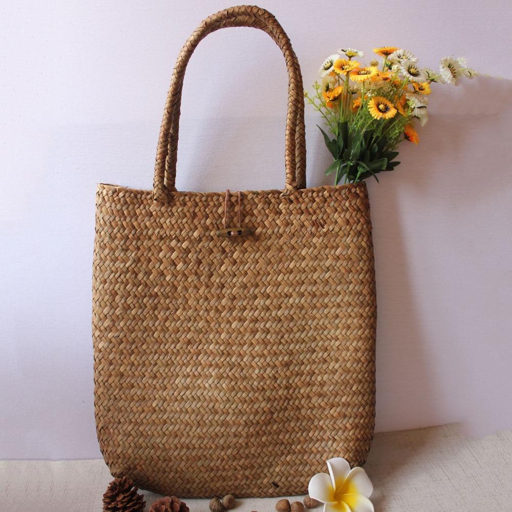 FGGS-Women Handbag Summer Beach Bag Rattan Woven Handmade Knitted Straw Large Capacity Totes Women Shoulder Bag Bohemia New 12