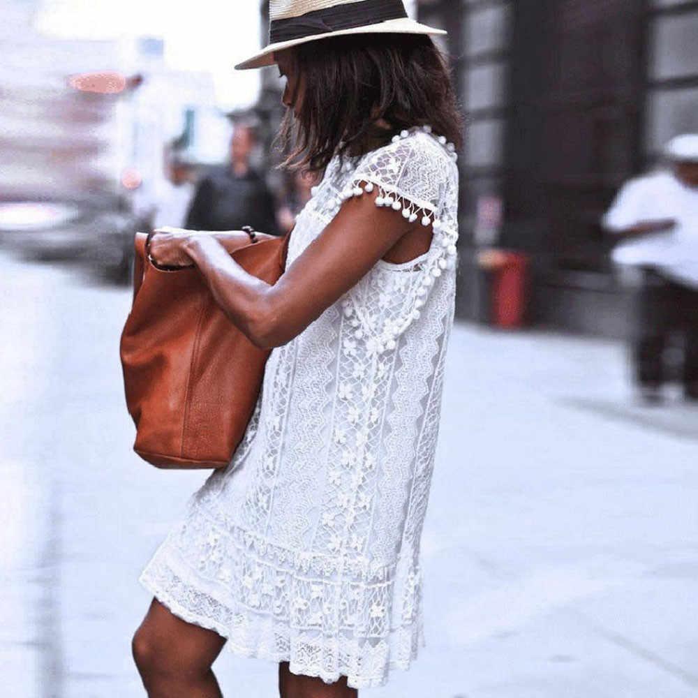 Été plage femmes décontracté dentelle sans manches plage courte gland Mini robe blanc grande taille 4XL robe de plage gland Mini robe