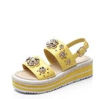 2017 Krazing Pot straw high heels wedges platform ankle straps party women fashion designer metal flowers rivets sandals
