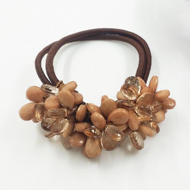 Mixed Korean Resin Waterdrop Beads Elastic Hair Bands Handmade Hair Ties  Elegant Ponytail Holder Fashion Women Hair Accessories 18ab5f7e90f