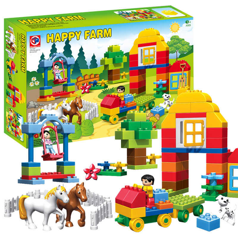 90pcs Happy Farm Animal Building Blocks Sets Horse Animal Big Size Duploe Farm Bricks