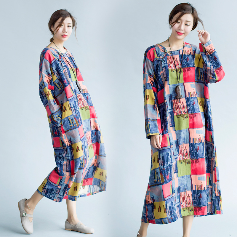 148d1fe67b1e2 Maternity Dresses for Pregnant Women New 2017 Autumn Winter Plaid Cotton  Linen Large Size Long-sleeved Dress Vestidos YFQ022
