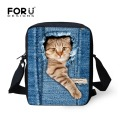 FORUDESIGNS Cute Cat Dog School Bags Girls Small Children Denim Animal Schoolbag Women Jeans Book Bag Mochila Escolar infantil