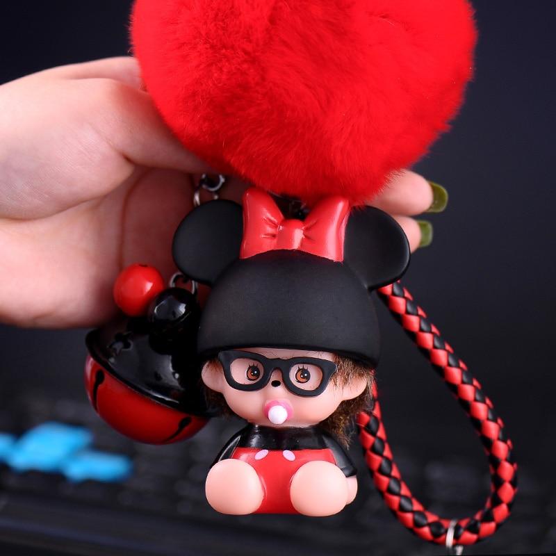 Cute Mickey Minnie Mouse Bell And Leather Strap Monchichi Key Chain Rex Rabbit Fur Pom Pom Keychain Kiki Women Bag Charm keyring