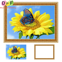 DPF Flower Butterfly Diamond Painting Cross Stitch Round Full Mosaic Have Frame Diamond Embroidery Needlework Decor