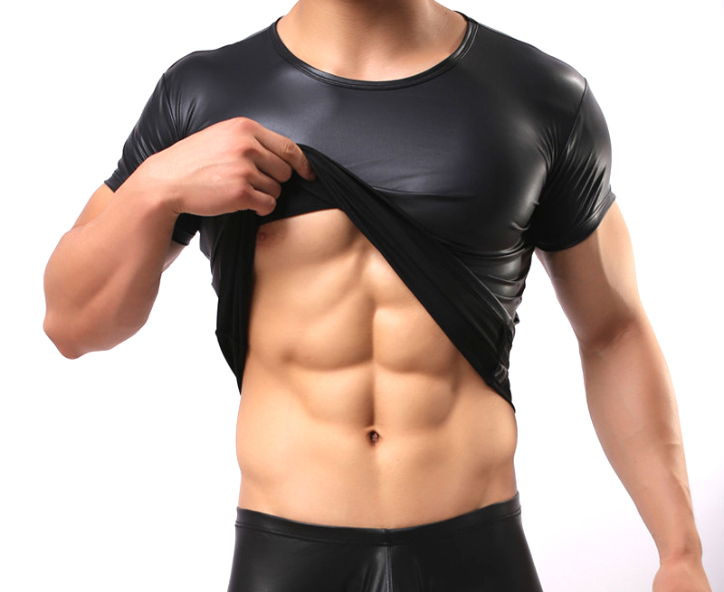 Mens Faux Leather Short Sleeve T-shirts Elastic Sexy Muscle Tops Black Sexy Tight Undershirts Tees O-Neck PU Party Clothing