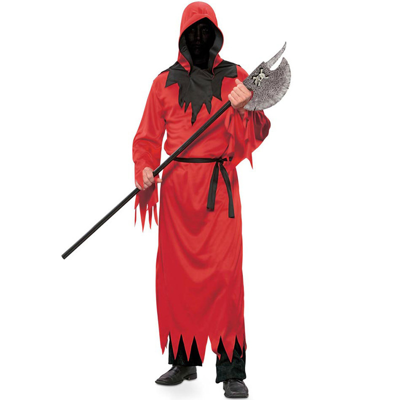 Middle Ages Cosplay Cloak No Face Vampire Zombie Cosplay Red Cloak Carnaval Deguisement Free Size  Halloween Cosplay Costumes