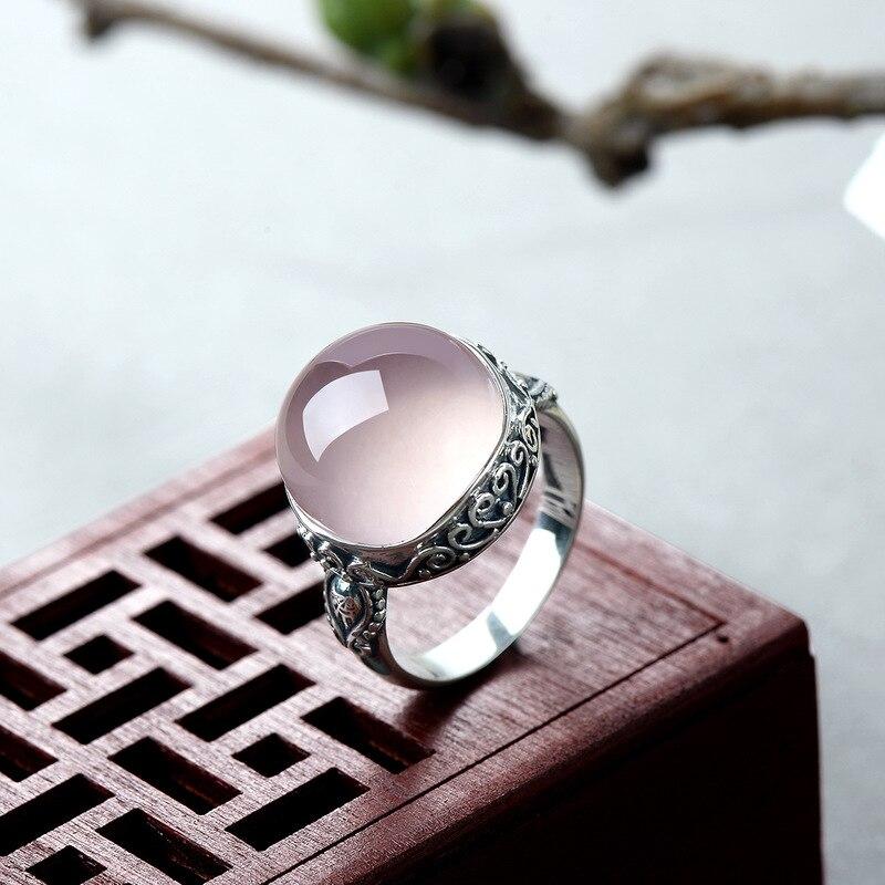 Genuine Solid Ring Silver 925 Rings Women Rose Quartz Designer  Jewelry Luxury Natural Stone Elegant Fine Jewelry RingenRings   -
