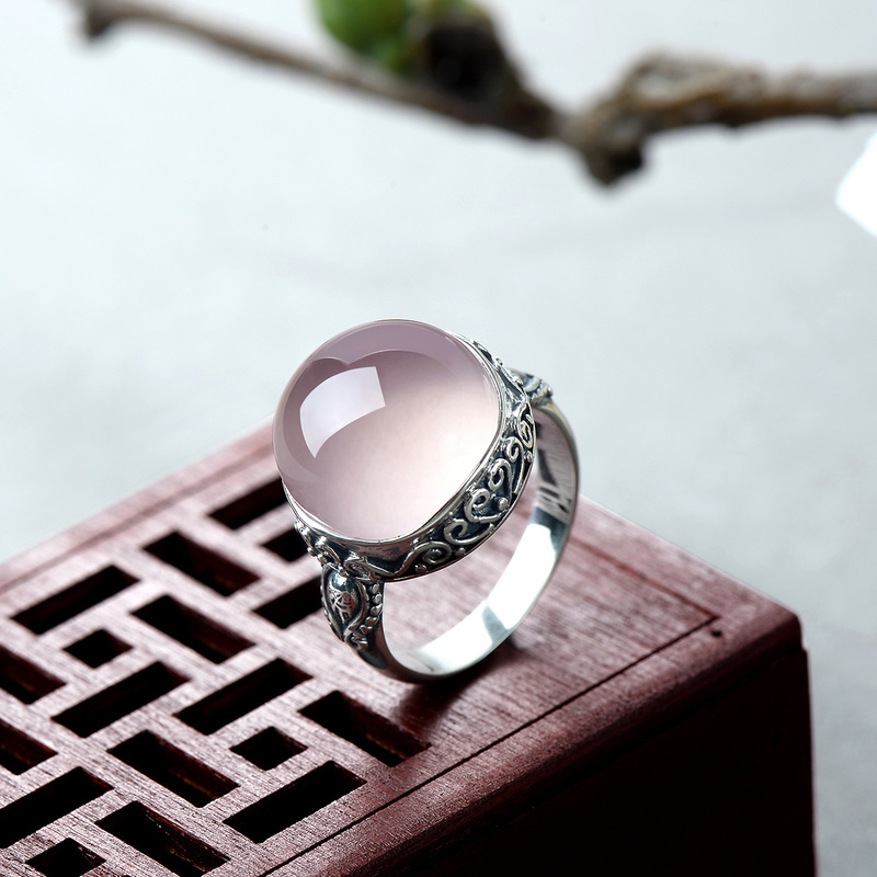 Véritable solide bague argent 925 anneaux femmes Rose Quartz bijoux de créateur de luxe pierre naturelle élégante Fine bijoux anneau