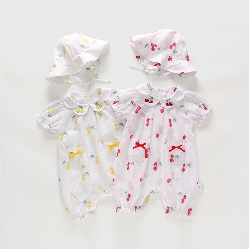 Baby Girls Clothing Set 2019 Summer New Cotton Peter Pan Collar Romper Fishmen Hat 2pcs Set Cute Small Cherry Jumpsuit Set
