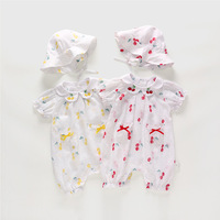 Baby Girls Clothing Set 2019 Summer New Cotton Peter Pan Collar Romper Fishmen Hat 2pcs Set Cute Small Cherry Jumpsuit Set