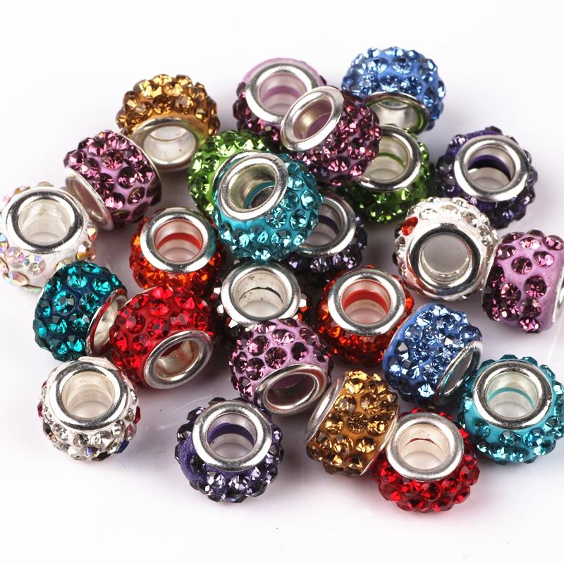 Prix pour 12mm Mix Couleur Grand Trou Charme des Perles Avec Strass Fit Bijoux Bracelet Pour Bijoux Faits Main 50 Pcs/lot