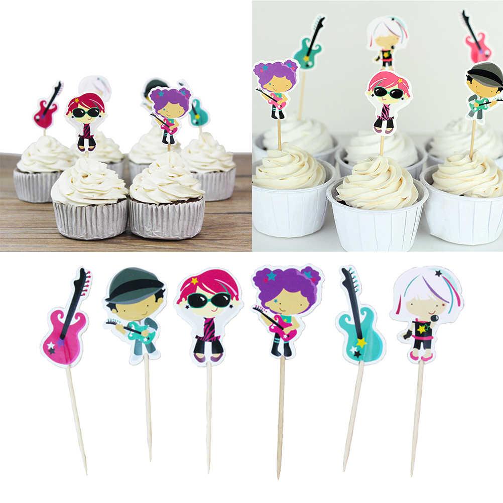 24 piezas pastel Toppers conjunto borde música de guitarra adolescentes fiesta de cumpleaños boda pastel Cupcake suministros decoraciones tarjetas de feliz cumpleaños