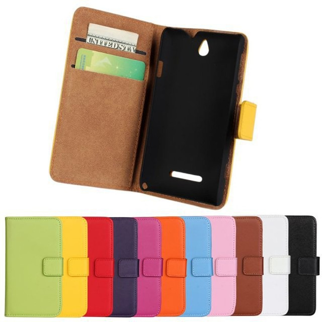 Luxury Genuine Leather Case For Sony Xperia E Dual C1605 C1604 C1505 C1504 Wallet Flip Phone Cover Bags With Stand Card Holder
