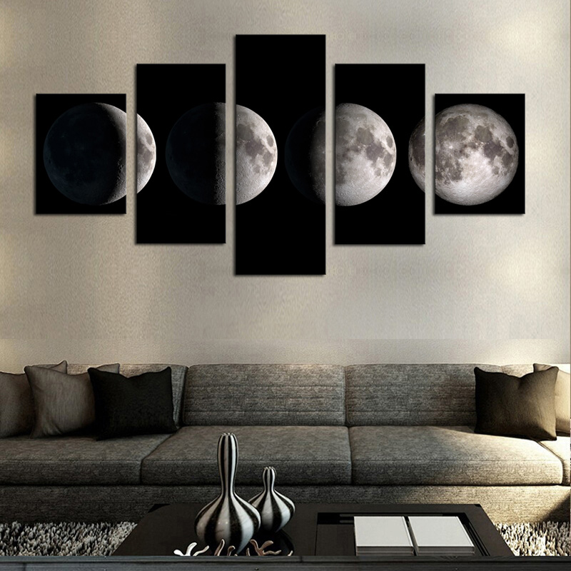5 Pieces Canvas Paintings Printed Beautiful Moonlit Black