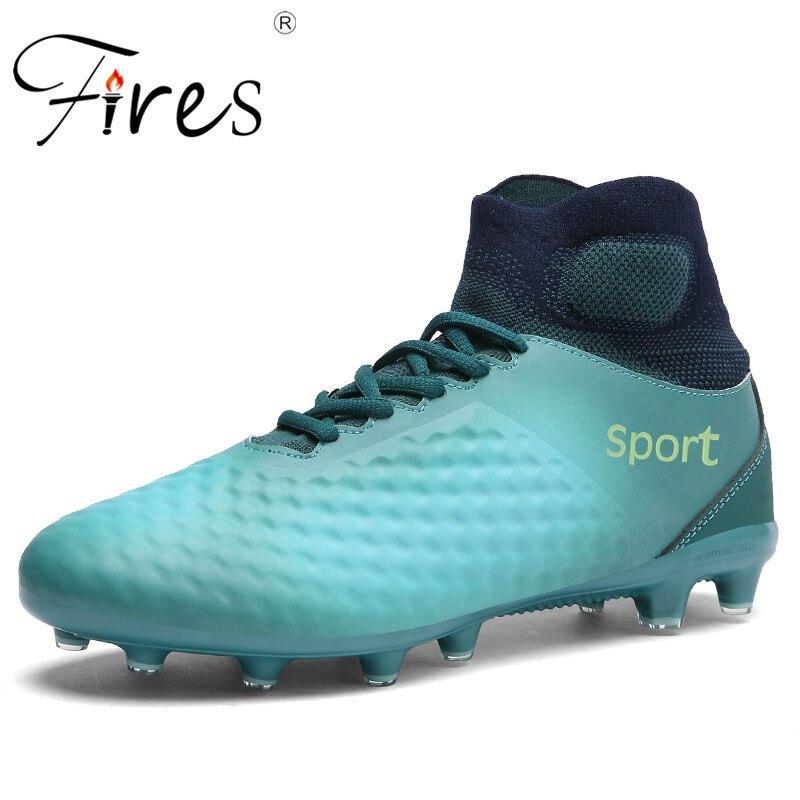 Feux chaussures de foot homme bottes longues pointes Sport chaussures de foot marque baskets homme extérieur haute bottines Sapatos de futebol