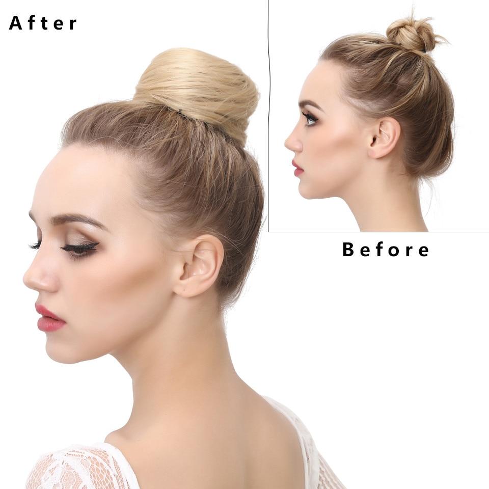 Искусственные волосы для наращивания в пучок, зажим для волос, Синтетический хвост, Пончик на шнурке, шиньон, шиньон, прическа для волос, кон...