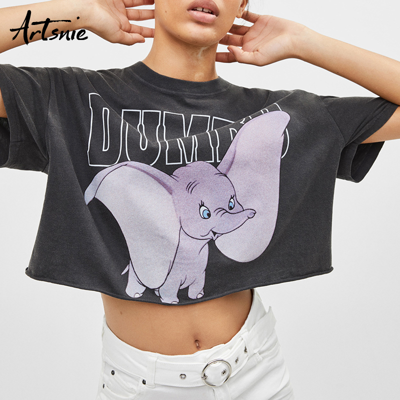 Artsnie streetwear casual cropped dumbo t shirt women summer 2019 dark gray short sleeve top female streetwear crop tops t-shirt