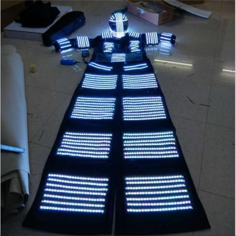 LED dəbilqə ilə işıqlı işıqlı bükülmüş robot kostyum - Şənlik aksesuarları - Fotoqrafiya 2
