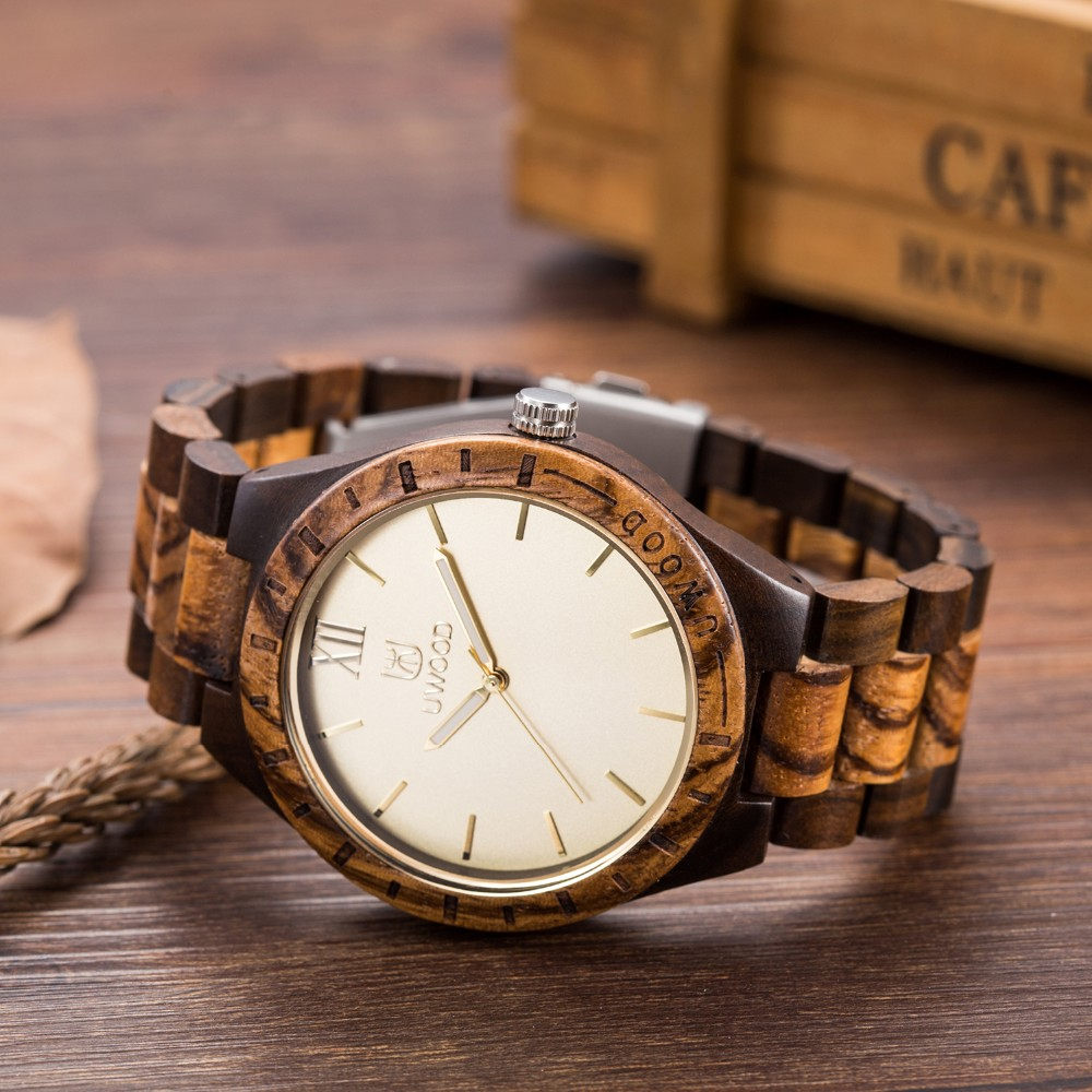 18 Hot Sell Men Dress Watch QUartz UWOOD Mens Wooden Watch Wood Wrist Watches men Natural Calendar Display Bangle Gift Relogio 16