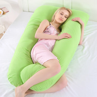 Big Solid Color Pregnancy Pillow For Pregnant Women U Shape Bedding Maternity Cotton Cover Help Sleep Body Sleeper Side Pillow