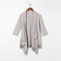 Cotton Cardigan Women Natural Fabric Light Gray Blue Black White Coat Woman High Quality Clearance Sale