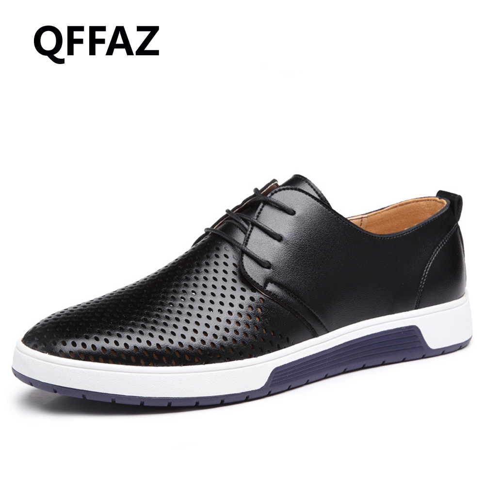 QFFAZ 2018 New Summer Men Casual Shoes Leather Breathable Holes Luxury Brand Flat Shoes for Men Zapatos Hombre Big Size 38-48 cbjsho brand men shoes 2017 new genuine leather moccasins comfortable men loafers luxury men s flats men casual shoes