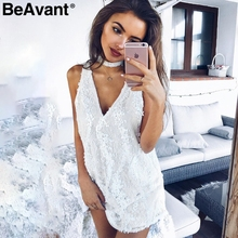 BeAvant Halter white lace sequins summer dress Women sexy deep v neack sleeveless short dress Causal party club dress vestidos