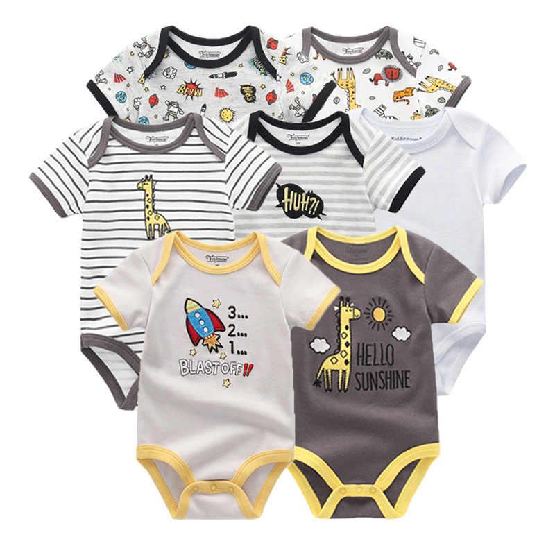 2019 7 unids/lote Ropa de bebé recién nacido Ropa de bebé Ropa de algodón unicornio monos mono bebé manga corta negro blanco