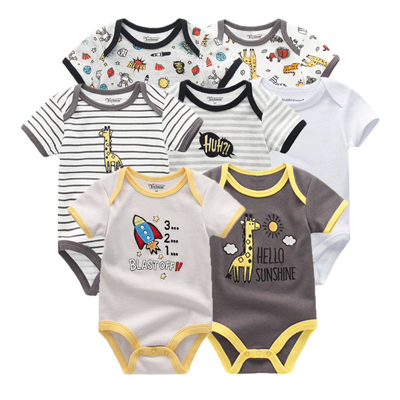 Image 5 - 2019 7PCS/lot Newborn Baby Girl Clothes Baby Boy Clothes Cotton Unicorn Bodysuits Jumpsuit Ropa bebe Short Sleeve Black White-in Rompers from Mother & Kids