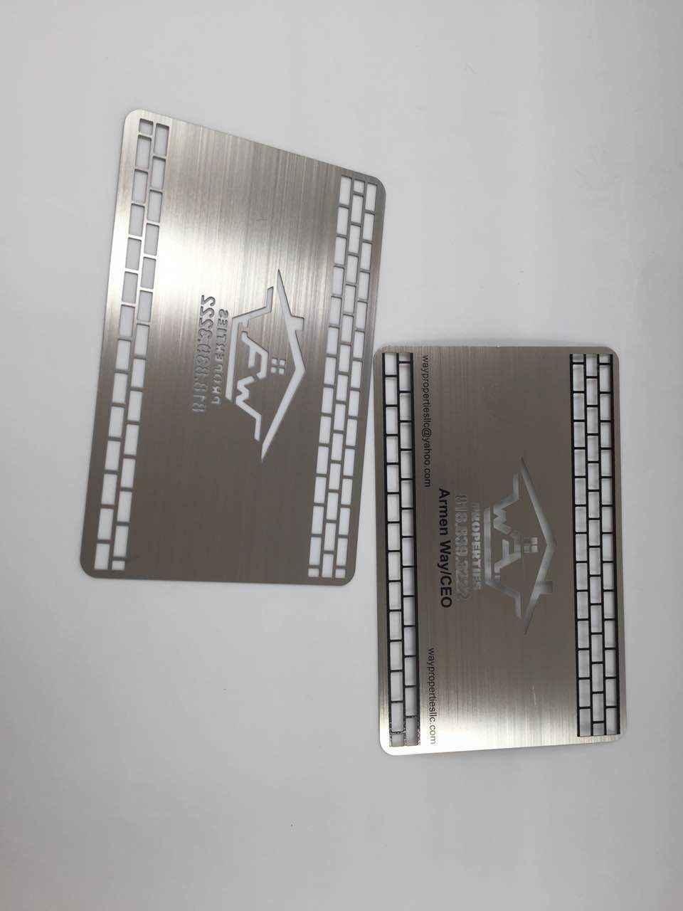 100 pezzi/lottp Inciso parole In Acciaio Inox Biglietto Da Visita di Metallo entrambi i lati con effetto a specchio