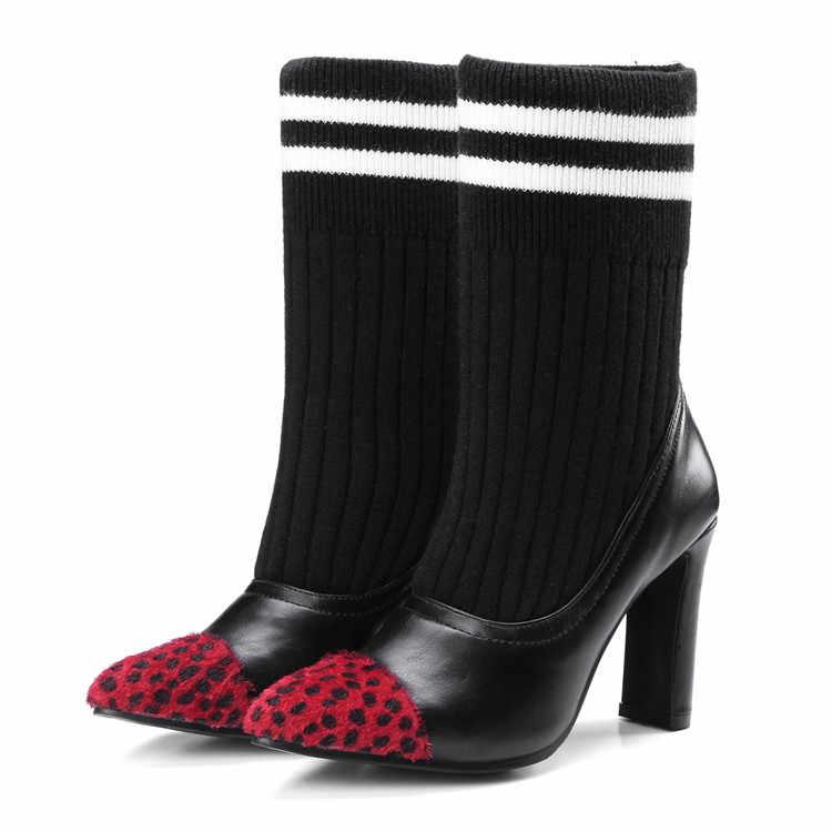 MLJUESE 2018 kadın yarım çizmeler Elastik Çorap Tıknaz Yüksek Topuklu Streç Kadın Kış siyah renk Seksi Patik Sivri Burun