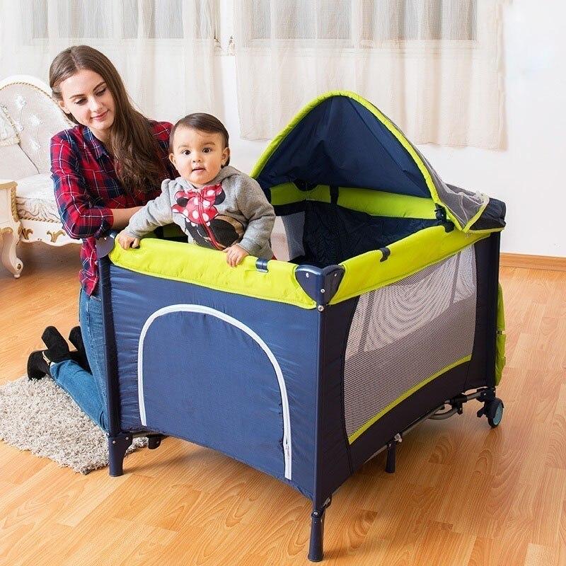 CACX lit bébé Portable multi-fonctionnel pliant lit bébé avec couches Table à langer voyage enfant jeux lits pour berceau infantile - 2