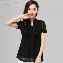 New summer fashion women tops Plus size puff short sleeve slim chiffon shirts for women clothing Black 5XL blouses Freeshipping