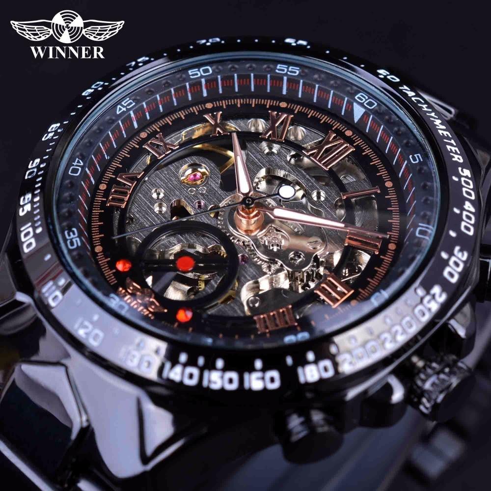 WInner 2017 Sport Racing Design Rozsdamentes acél tok férfi katonai órák Top márka luxus automata mechanikus csontváz órák