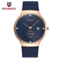 BADACE Top Luxury Quartz Watch Casual Men Black Quartz Watch PU Strap Ultra Thin Male Calendar