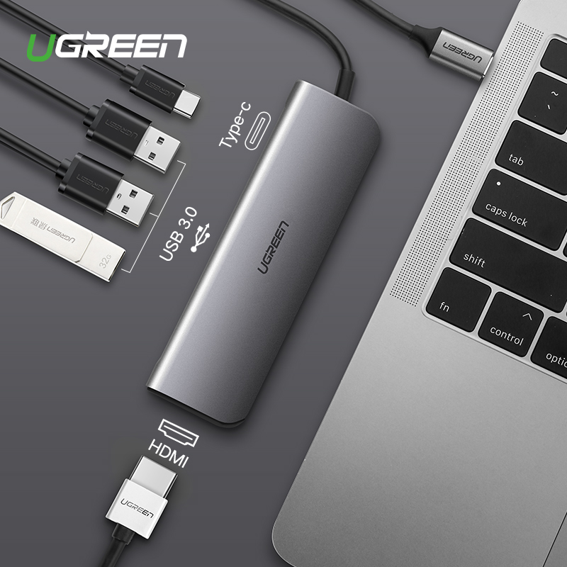 Ugreen Type C Adaptateur USB-C à HDMI 3.0 HUB Dock pour MacBook Pro Huawei Compagnon 20/P20 Thunderbolt 3 convertisseur Type-C USB C Adaptateur