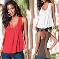 Women's Summer Chiffon Sleeveless Blouse Ladies Sexy Loose Casual Vest Tank Tops