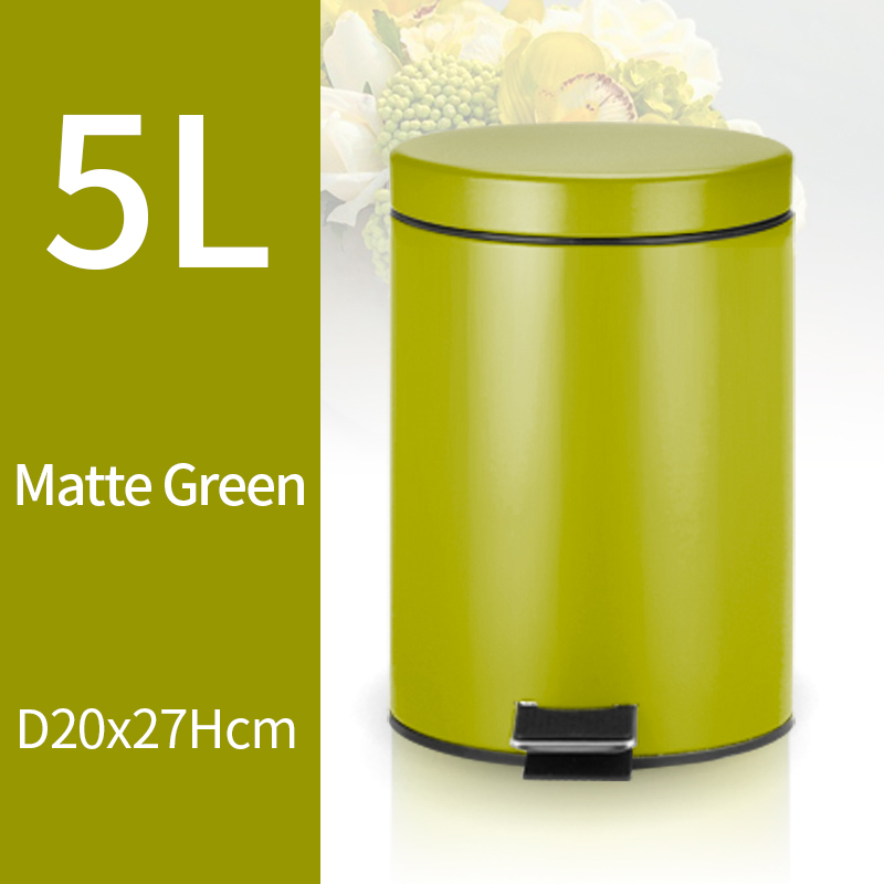 5L Trash Can Kitchen Living Room Office Garbage Dust Bin Bathroom Storage Rubbish Bucket Storage Box Pedal Waste Can Green Color