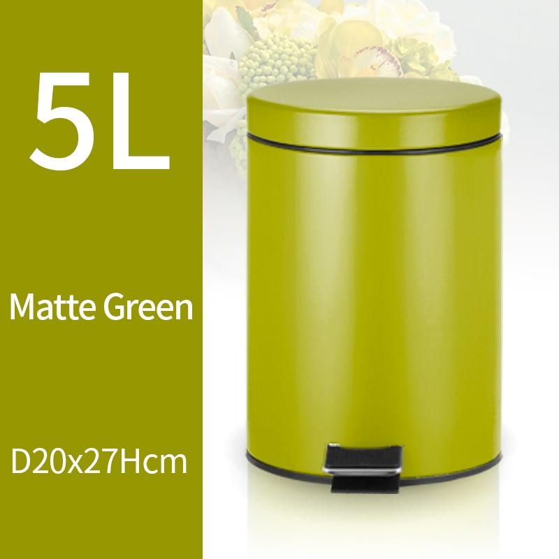 ANHO 5L Trash Can Kitchen Living Room Office Garbage Dust Bin Bathroom Storage Rubbish Bucket Storage Box Pedal Waste Can Green